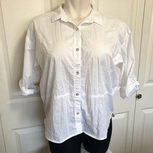 Eileen Fisher white button down blouse sz.L